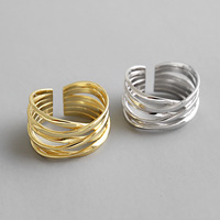 Sterling Silver 925 Jewelry Multilayer Winding Line Gold Plated Rings Jewellery