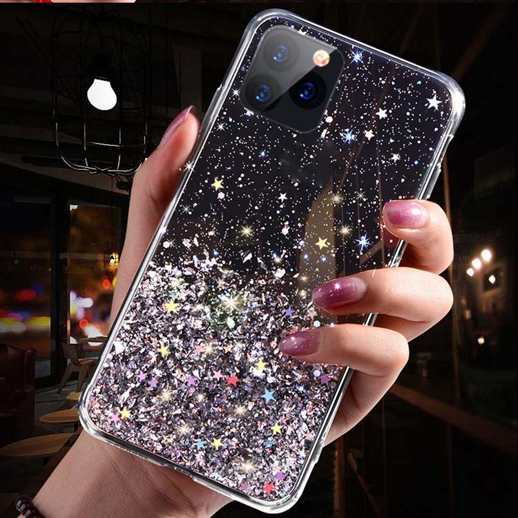 Fashion Resin Dripping Glue Transparent Glitter Hard PC Back TPU bumper Phone Case Cover For VIVO Y17 / <strong>Y3</strong> / Y15 / U10