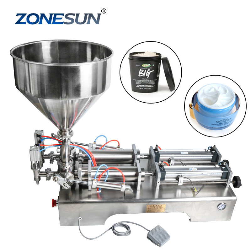 ZONESUN Double Heads Water Cream Shampoo Moisturizer Lotion Cosmetic Oil Honey Stick Food Paste Filling Machine