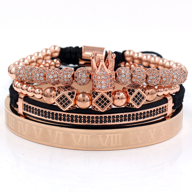 4 Pcs Luxury Stainless Steel Roman Numeral Bangle Adjustable  Macrame Braided Micro Pave CZ Imperial King Queen Crown Bracelet