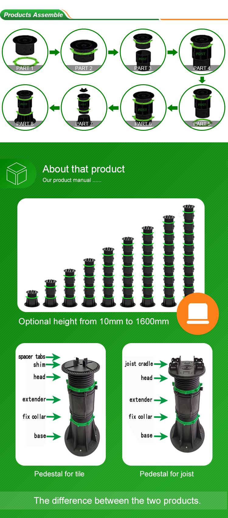pedestal adjustable plastic raised basin wood deck stone floor support K33(390-660MM)
