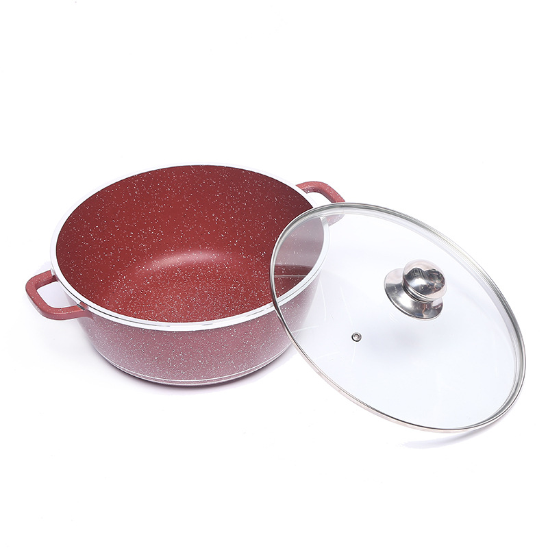 10 PCS non stick marble coating aluminum soup cooking pot cookware set