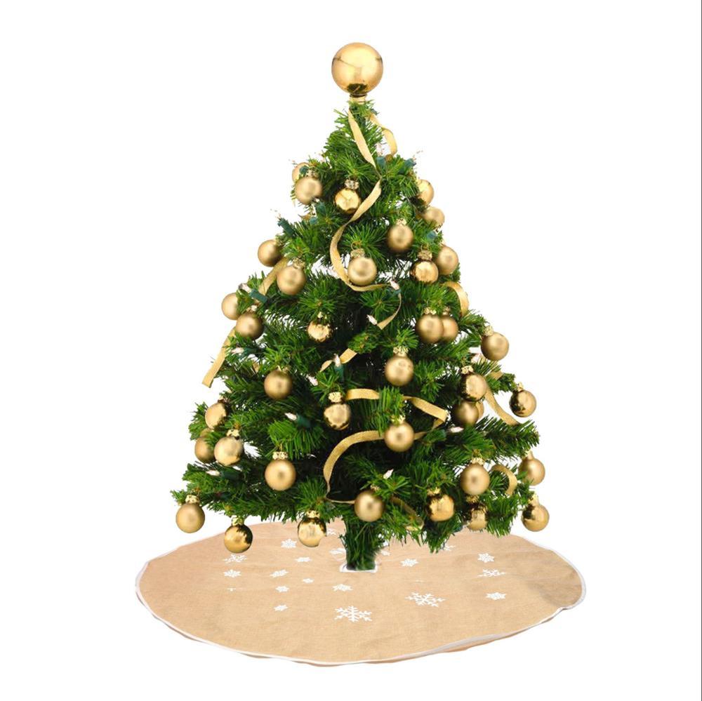 Christmas Tree Skirt Waterproof Green Mat Holly Pattern