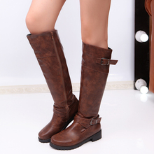 Thigh-high lady knight leather Martin winter boots for women