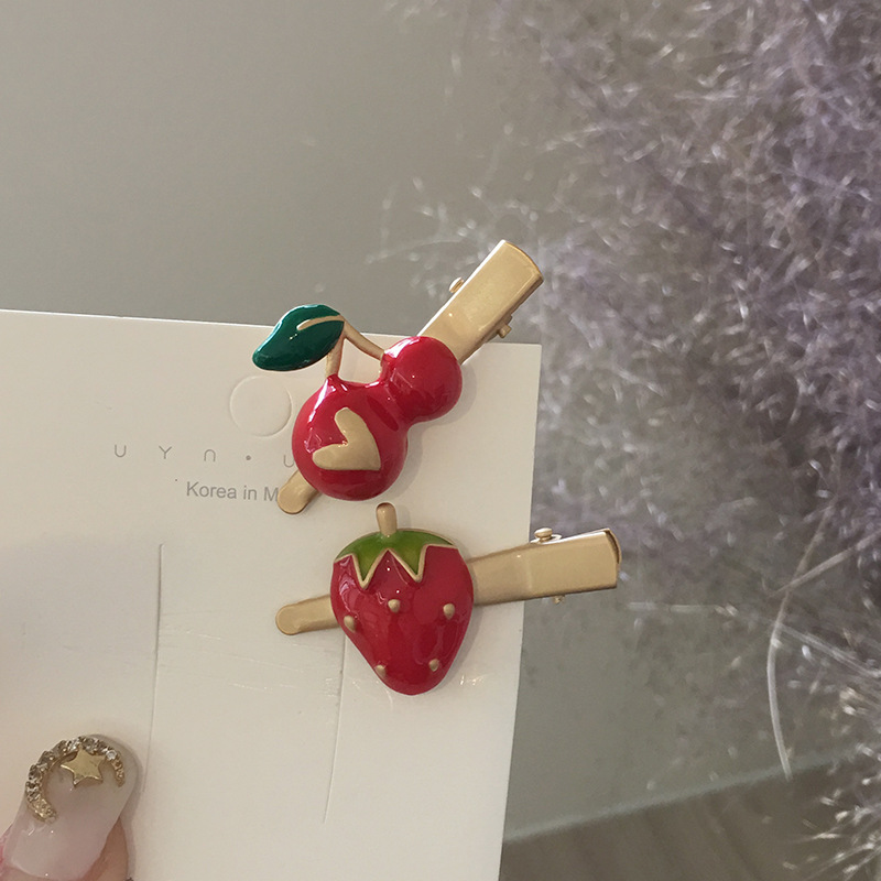 Trade Assurance 2020 Latest design fashion cute cherry strawberry hair clip fruit duckbill clip hair accessories wholesale
