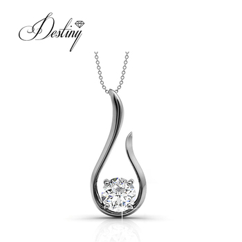 Destiny Jewellery hope silver pendant necklets latest design silver 925 crystal necklace with 18K gold plated