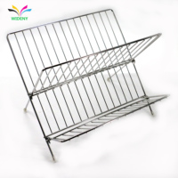 Wideny kitchen large capacity foldable waterproof silver stainless steel dish drying rack for plates