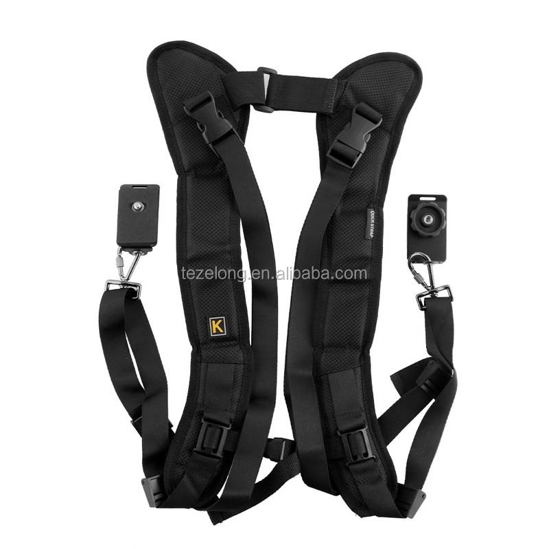 Black Double Dual Camera Shoulder Strap Quick Rapid Sling Strap Vest Camera Belt Adjustment for DSLR Digital Cameras