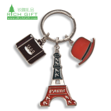 No Minimum Cheap Logo Customized made Metal Blank Sublimation Metal Printed Keychains Hot Selling paris tower Metal Keychain