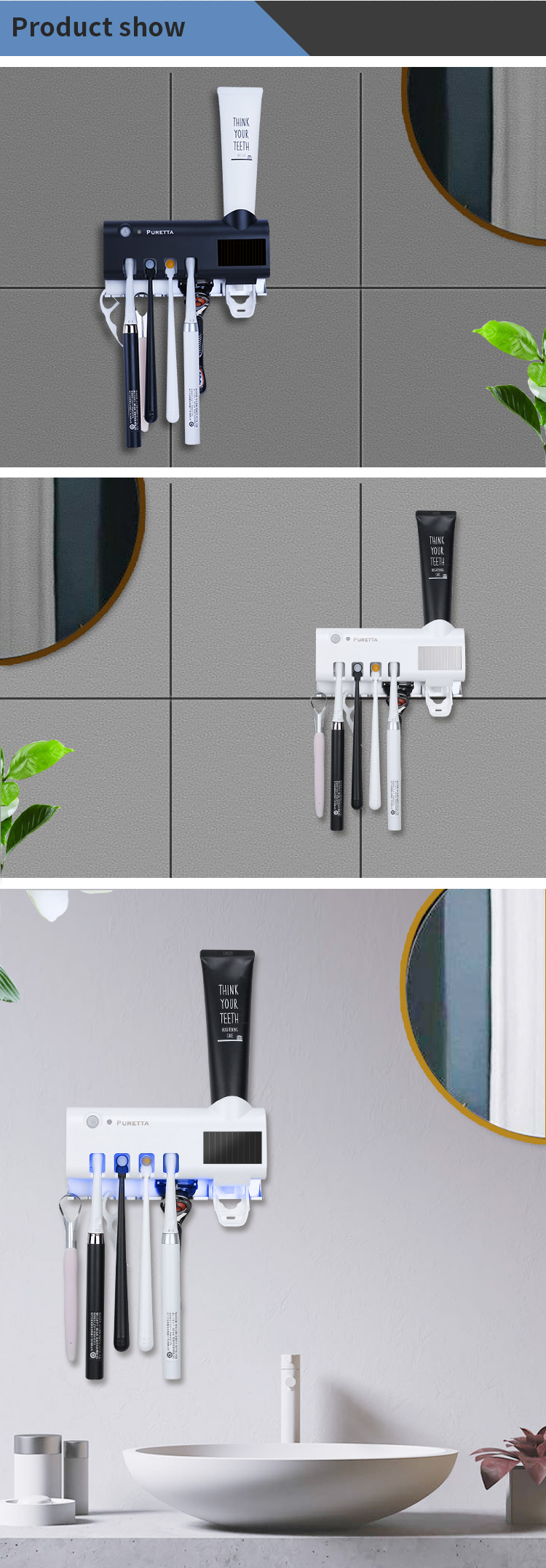 High Quality UV Light Electric Toothbrush Sterilizer Toothpaste Dispenser With Solar Panel Recharge