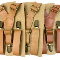 High Quality vintage tan Adjustable Trousers Braces Y adult mens Leather Suspenders