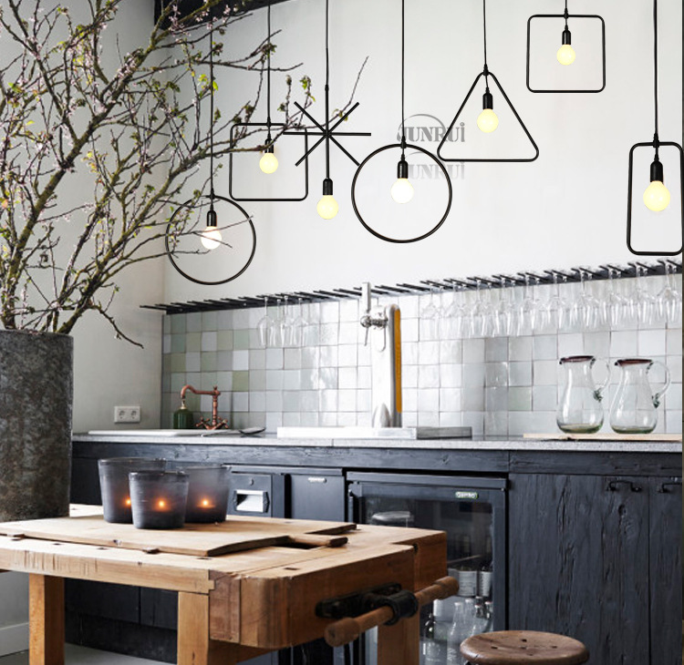 loft geometric industrial style iron bar clothing store restaurant lighting