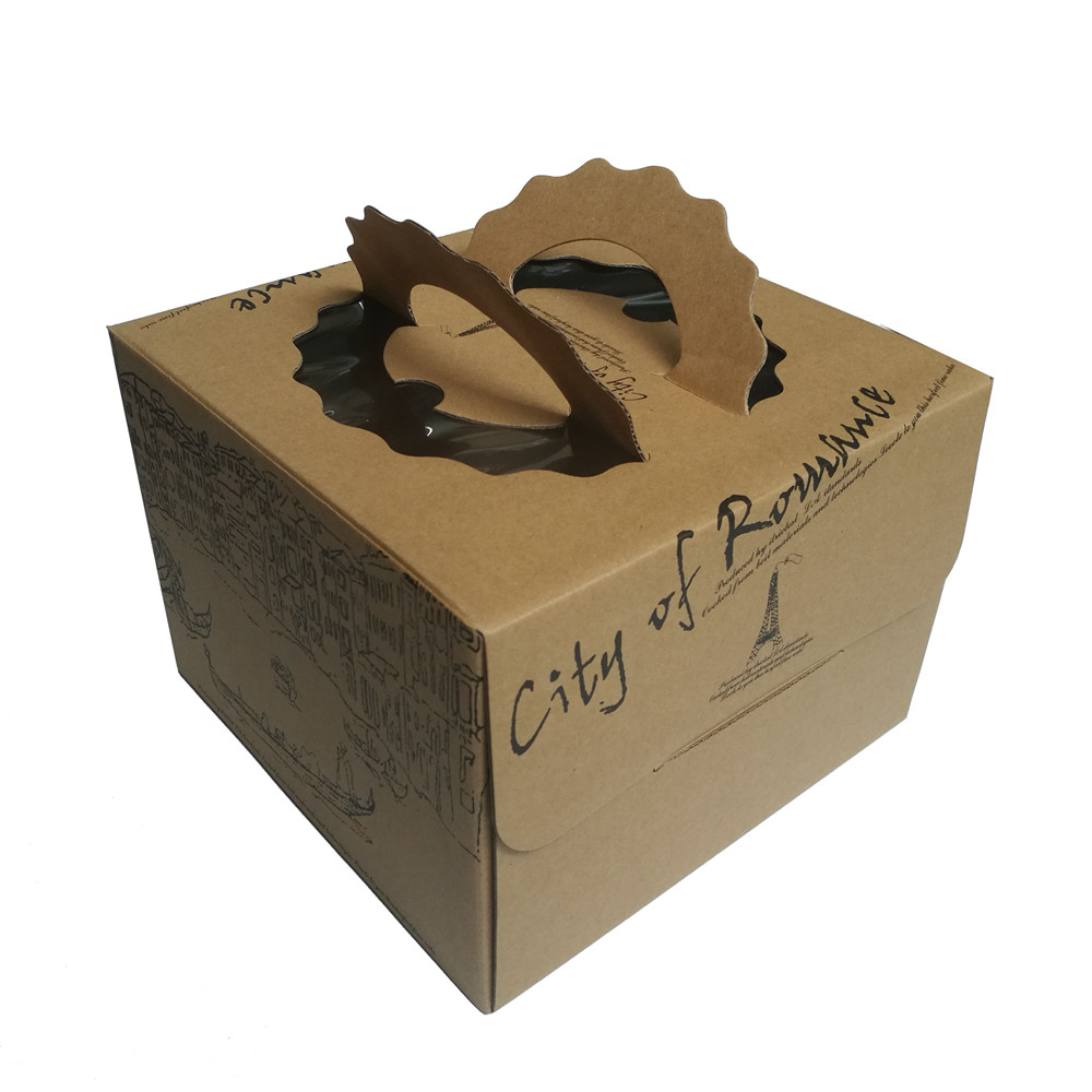 Hot Sale Fancy Small Cardboard Cake Packaging Box with Handle