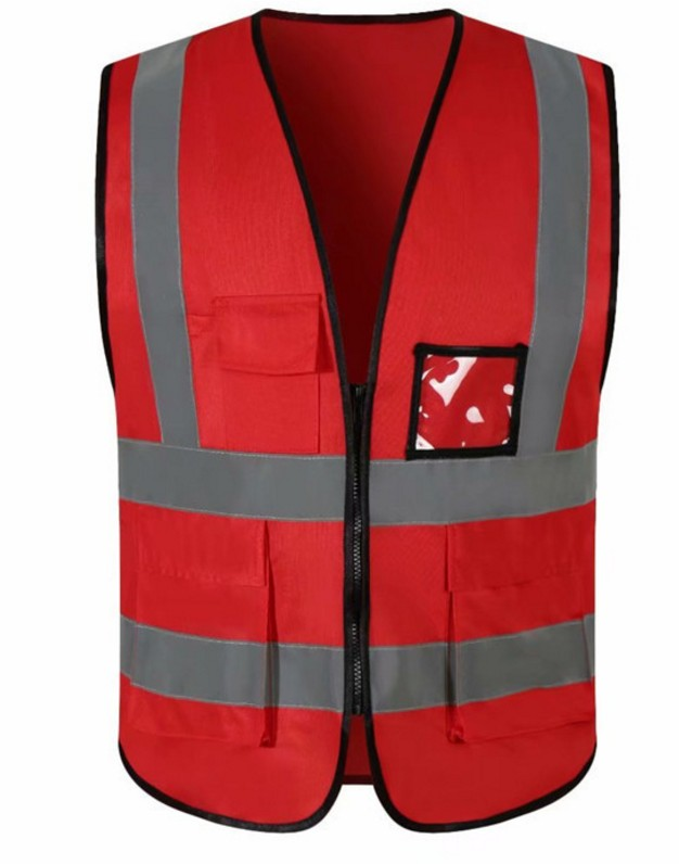 SIZE L POCKETS RED 120GSM ZIPPER reflective vest <strong>safety</strong>