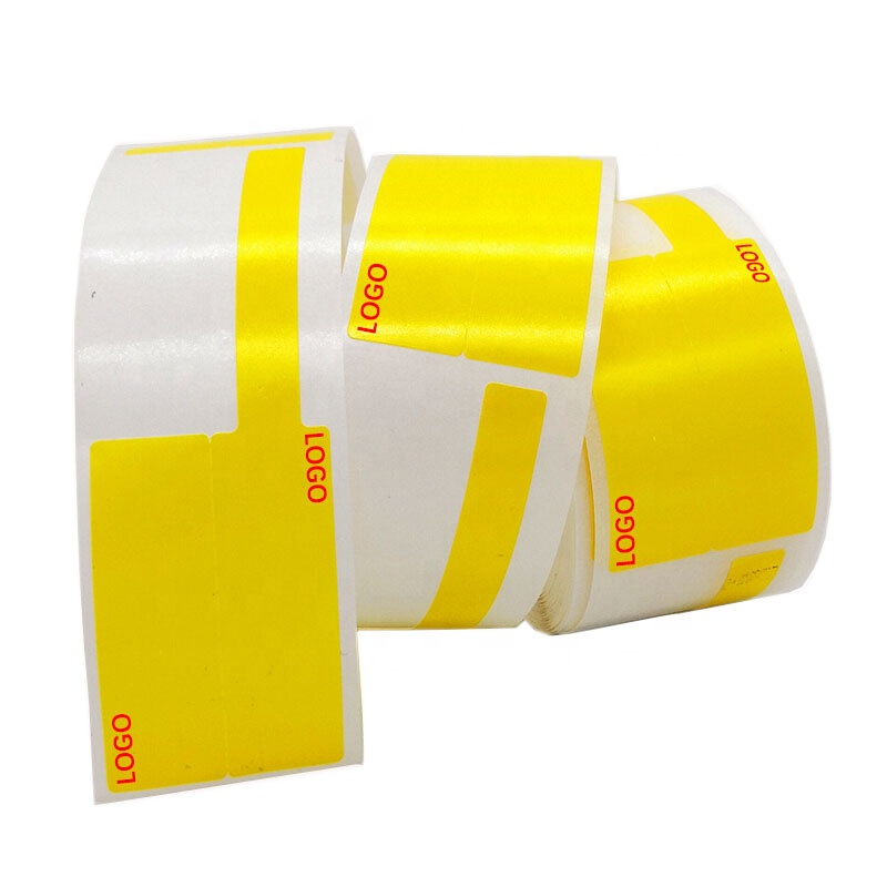 F-type <strong>P</strong>-type sticker adhesive <strong>label</strong> printing paper Yellow 37.5*38+35mm for T-series pigtail/network cable
