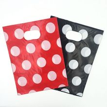 <strong>Black</strong> And Red Dots Plastic Gift Candy Bag Boutique Carrier Shopping Bags