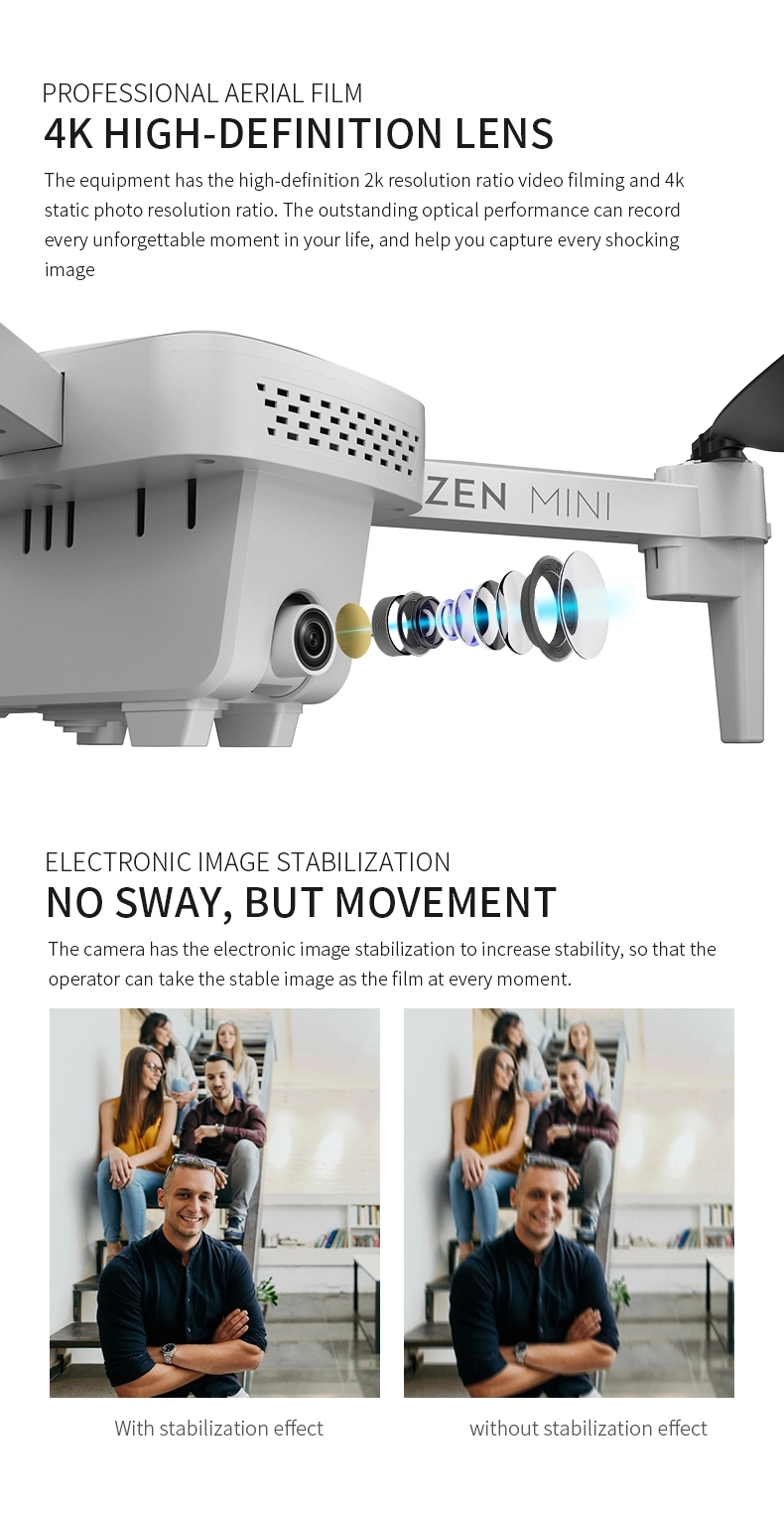 2020 new XS818 Drone ZEN MINI Drone 4K HD Electronic Anti-shake Camera Dual GPS Optical Flow Positioning Quadcopter