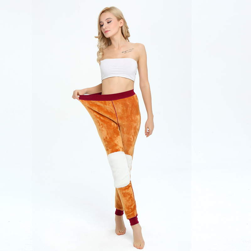 Ladies warm pants knee guard waist <strong>plus</strong> velvet thick leggings winter pants
