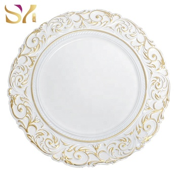 New style charger plates plastic wedding plates with gold