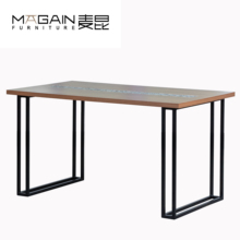 China industrial <strong>furniture</strong> iron metal legs mosaic dining table wholesale custom made
