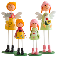 Cute a family of four stand wooden doll for girls bonecas