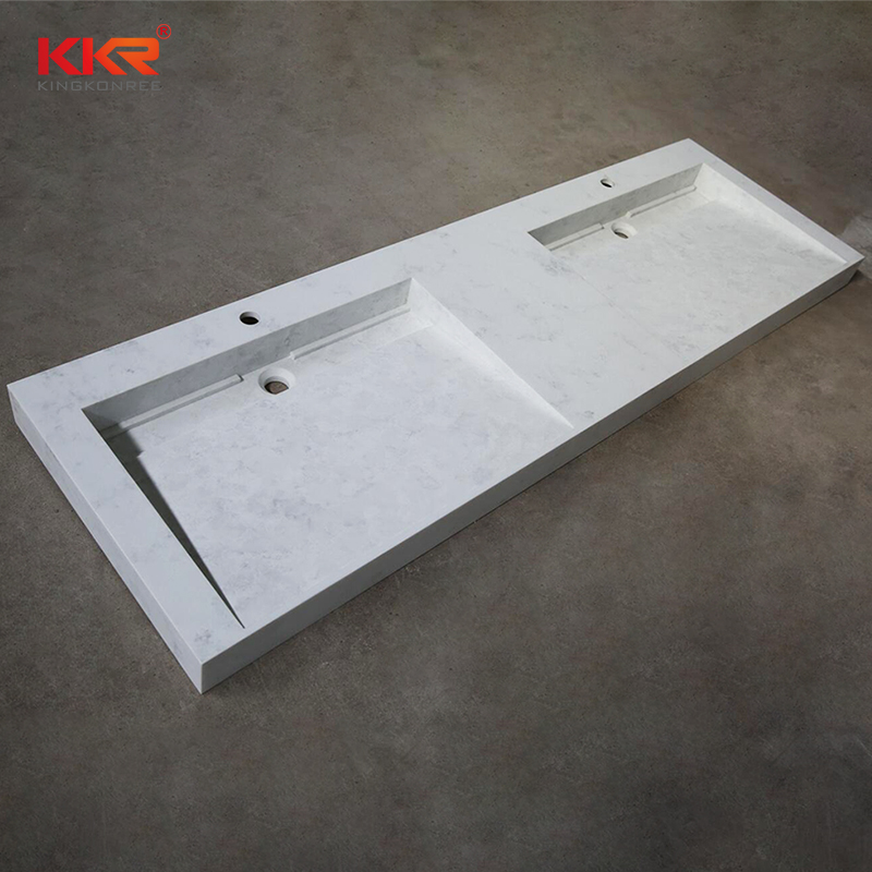 48'' Wall Mounted Customized Solid Surface Stone Bathroom Marble wash basin