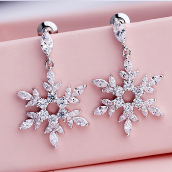 fashion fancy brass with silver plated round hoop cubic zirconia snowflake drop dangle earrings