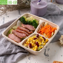 Biodegradable disposable 100% Eco-friend 3 compartment bagasse pulp restaurant take away food <strong>container</strong>