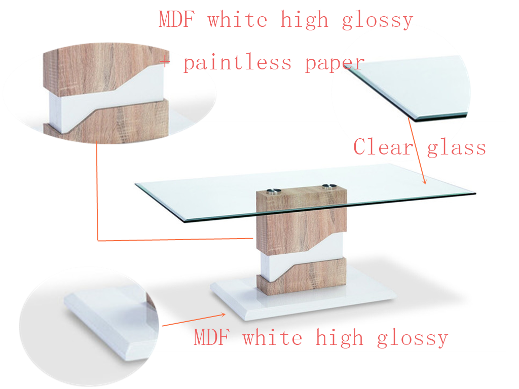 Modern simple top glass wooden MDF Legs center coffee table End Table  for living room