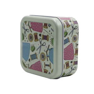 Wholesale fancy square storage small sewing tin box with sewing accessories