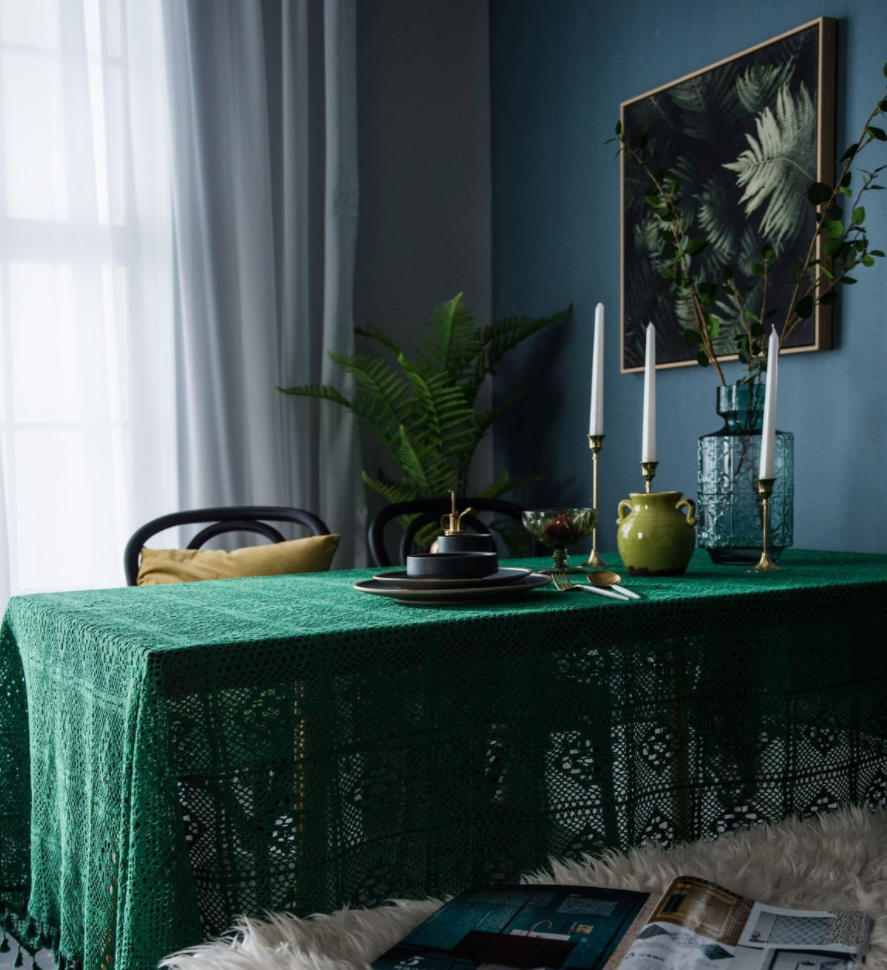 popular Dark green pink retro round rectangular tablecloth