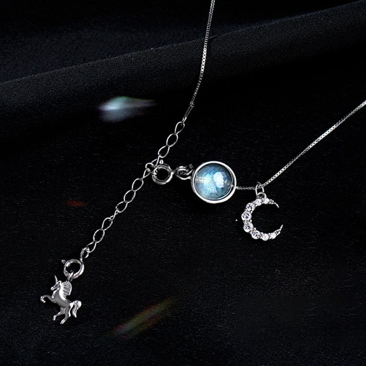 925 Sterling Silver Unicorn Female Korean Personality Temperament Moon Zircon Chain Simple Student Moonstone Necklace