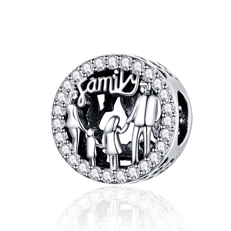 Qings Love Family Forever <strong>Charms</strong> Bead OEM/ODM 925 Sterling Silver Zircon <strong>Charm</strong> Pendant