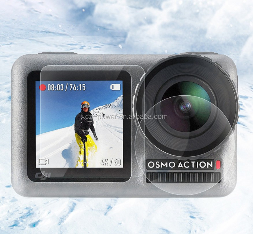 For DJI OSMO ACTION Screen Tempered Film Sports Camera Protective Film Set Pocket Camera Accessories Screen Protector