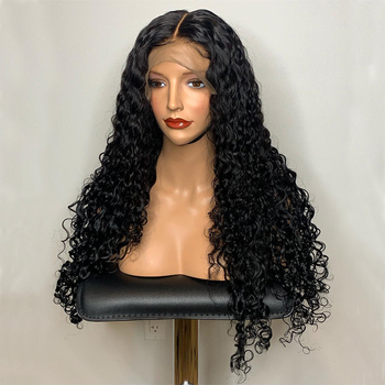 Big sales 180% density human hair long and thick curly Swiss lace frontal wig deep part 13*6 water wave wig