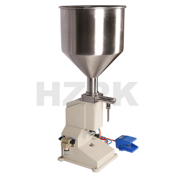 HZPK semi-automatic <strong>A02</strong> Full Pneumatic 5-50ml Small Scale Pedal Paste Filling machine