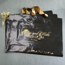 Black Plastic Shopping Handle Bags With Custom gold Logo Text Printing