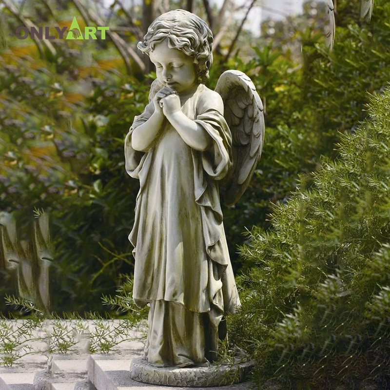 Sitting Weeping Long Hair Girl Tombstone Statue