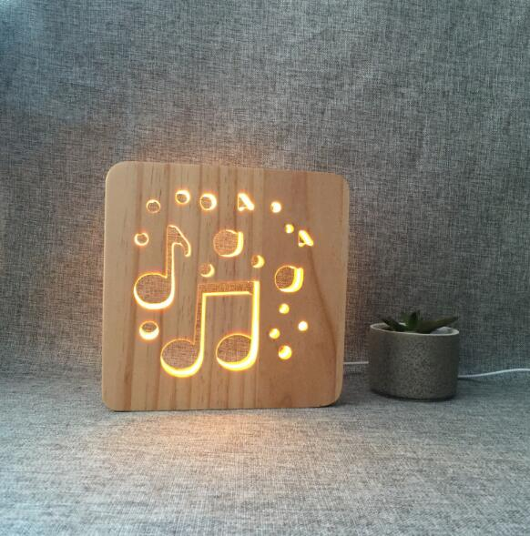 Personalized <strong>LED</strong> Bedroom Decor Night Light Desk Table Lamp 3D Wooden Hollow Carve Love Wood Bedside Lamp