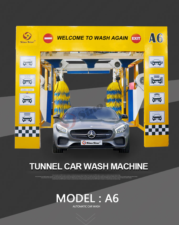 New design stable performance high speed convenient use tunnel automatic car wash machine price in China A6