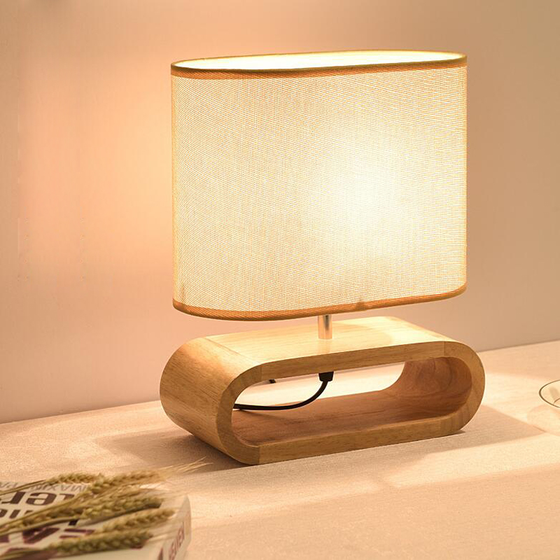 Bedside Table Lamp Solid Wood Bedside Desk Lamp with Square Flaxen Fabric Shade for Bedroom, Living Room, Kids Room