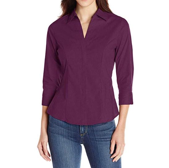 Custom women's woven shirt slim fit three quarter sleeve ladies blue tops blouses