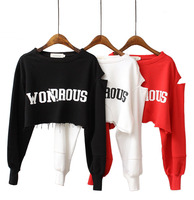 2019 High Quality Custom Wholesale Hot Long Sleeve Lady Women Top Pullover Hoodies Crop Hoodies