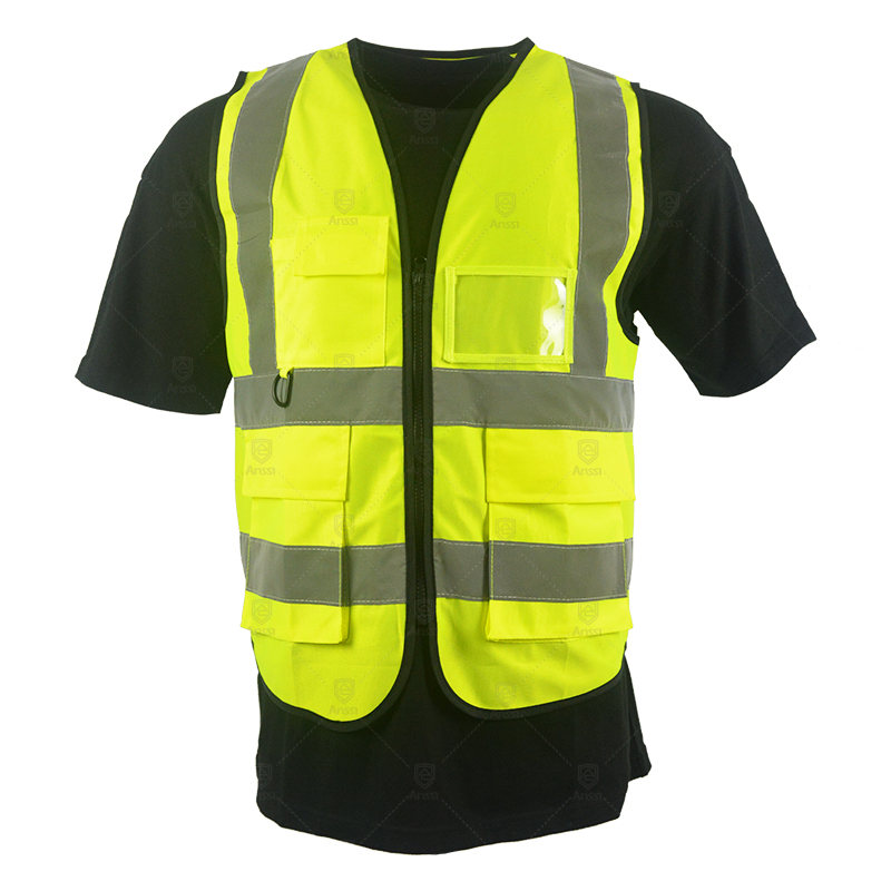 Stock or custom construction security high visibility reflective fluorescent worker vest with pockets for men roadway <strong>safety</strong>