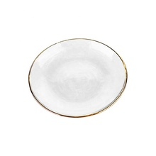 6&quot; transparent elegant flat glass <strong>plate</strong> with gold rim for table decoration