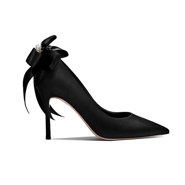 2019 High Heel Stiletto Women's Pumps Black Silk x19-<strong>c118</strong> Ladies Women Dress Shoes Heels For Lady