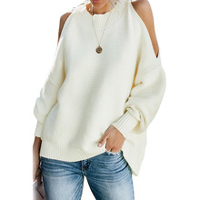2019 New Design Women Winter Cold Shoulder Pullover Sweater