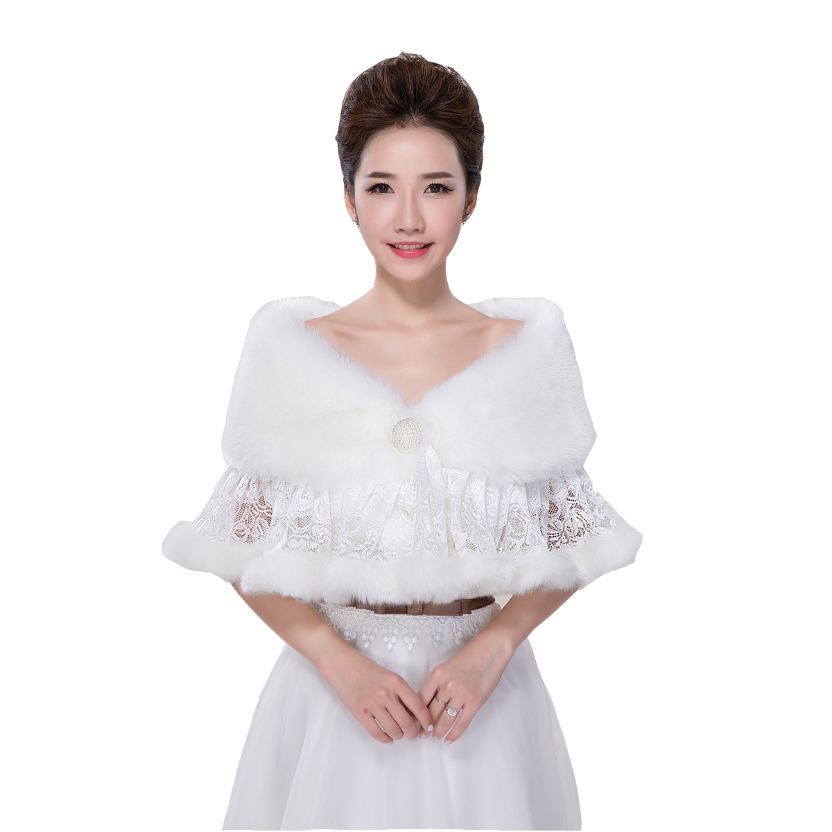 Wholesale new bride plush shawl winter wedding bride luxury shawl warm soft lace Jackets / Wrap