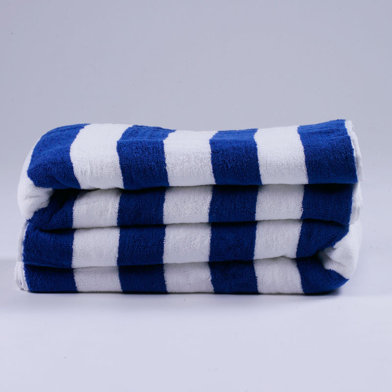 LinenPro 100% Cotton Hotel Pool <strong>Towel</strong> Blue Stripe Beach <strong>Towel</strong> with Logo