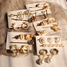 2019 New Trendy 2pcs pearl and shell hair clip with <strong>earrings</strong> 3pcs per set